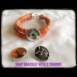 Snap Bracelet with 2 Charms